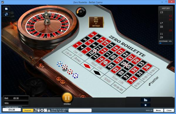 Betfair Zero Roulette table